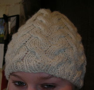Cream cable hat
