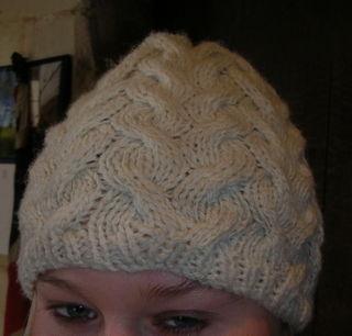 Cream cable hat